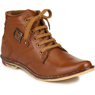 Factory London Men Tan Lace-up Boots
