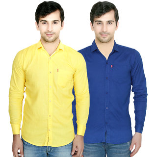 Knight Riders Plain Blue & Yellow Casual Slimfit Poly-Cotton Shirts  Pack of 2