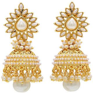 Jewels Guru Exclusive Golden White Earrings.  m-506