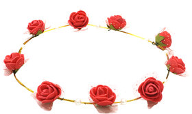 Aarika Red Beautifully Handcrafted Floral Tiara with Pearl