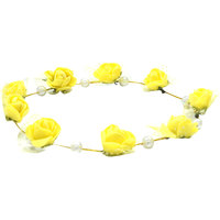 Aarika Yellow Beautifully Handcrafted Floral Tiara with Pearl