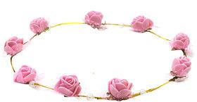 Aarika Pink Beautifully Handcrafted Floral Tiara with Pearl