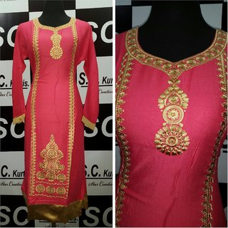 Seasons By Nikita Straight Cut Kurti with Embroidery and Mirror Work (Pink)