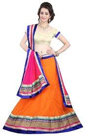 Aagaman Fashions Pretty Orange Colored Border Worked Net Lehenga Choli