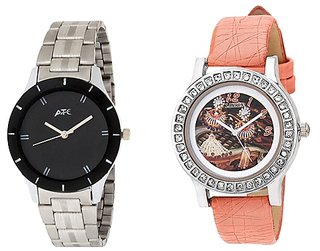 ATC Analog Leather Watches for Lovely Couple Combo-ATC-SL-84-LX-145