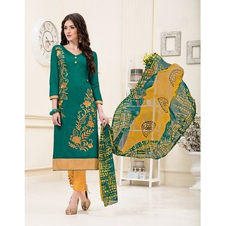 Womaniya Online Olive Green  Yellow Embroidery Chanderi  Dress Mateirial (Unstitched)