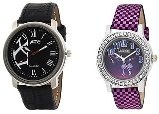ATC Analog Leather Watches for Lovely Couple Combo-ATC-HB-003-LX-147