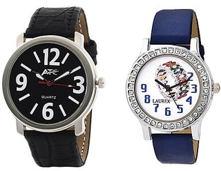 ATC Analog Leather Watches for Lovely Couple Combo-ATC-HB-010-LX-149