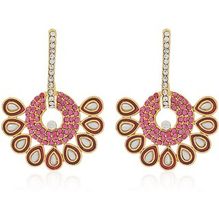 Jewels Guru Exclusive Golden White Pink Multi Colour Earrings.  m-516