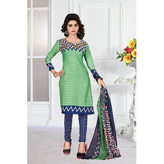 Womaniya Online Olive Green  Blue Printed Poly Cotton Dress Material (Unstitched)
