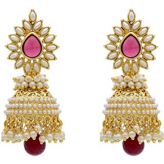 Styylo Fashion Exclusive Golden Pink White Earrings Set /S 1066