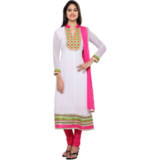 Florence White Georgette Embroidered Dress Material (SB-3304) (Unstitched)