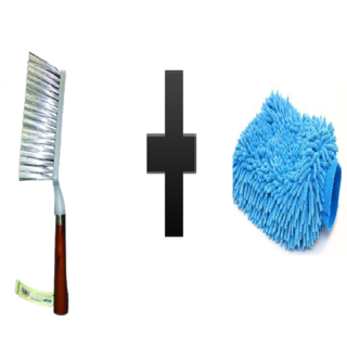 s4d Cleaning Brush with Wooden and free microfiber hand glove one pc colour assorted