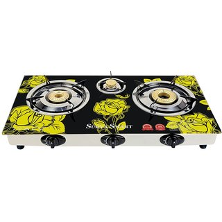 SURYA SMART Autoignition 3 burner gas stove glass top