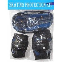 Blue Color Skate Protection Kit With Helmet, Knee  Elbow Gaurds Skating Cycling