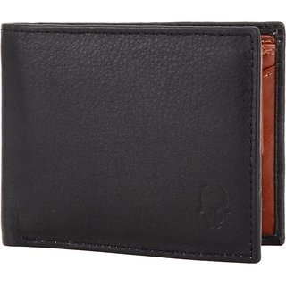 Men Casual Black Genuine Leather Wallet  6 Card Slots   Synthetic leather/Rexine