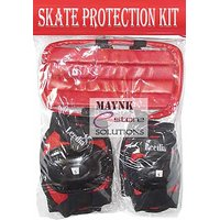 Red Color Skate Protection Kit With Helmet, Knee  Elbow Gaurds Skating Cycling