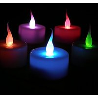 7-Colour Auto-Changing Led Candle Lights With Replaceable Battery - Pack Of 12