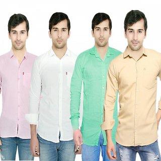 Knight Riders Pack Of 4 Plain Casual Slimfit Poly-Cotton ShirtsPinkWhiteLightgreenCream