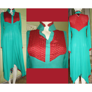KUR192Exclusive Turquoise Green And Red With Tail Cut Kurti
