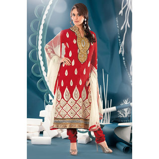 Preity Zinta Pleasant Red Jacquard Salwar Suit Adorned With Resham & Stone Embroidery Work