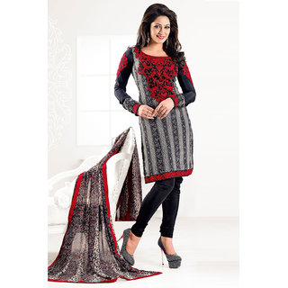 Beautiful Black Crepe Salwar Kameez With Resham Embroidery Work