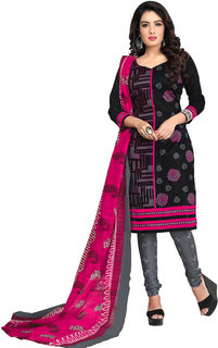 5b313be09e Drapes Womens Black Cotton Printed Dress material (unstitiched) DF1686  (Unstitched)