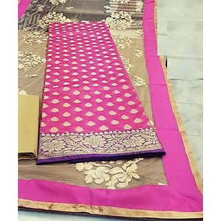 Women's Pink Color Banarsi  Embroidered Dress Material (Unstitched)