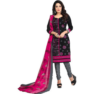 Drapes Womens Black Cotton Printed Dress material (unstitiched) DF1686 (Unstitched)
