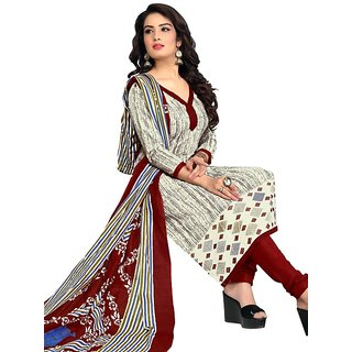 Drapes Womens Beige Cotton Printed Dress material (unstitiched) DF1687 (Unstitched)