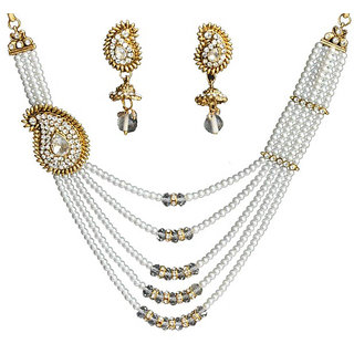 Jewels Guru Exclusive Golden White Necklace Set.M-551