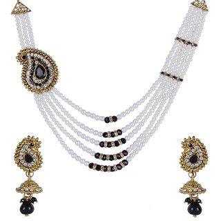 Jewels Guru Exclusive Golden White Black Multi Colour Necklace Set.M-555