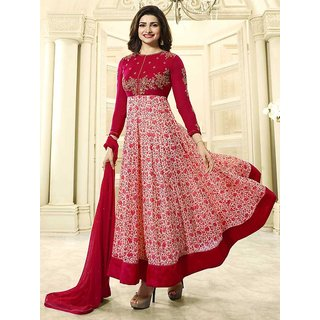 Ladyview Red  Off White Embroidered Georgette Anarkali Suit