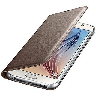 For Lava A68 Imported Leather Type Flip Cover - Gold