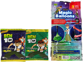 Ben 10 Holi Magic Balloon Bunch 111 Pc Auto fill (3 sets of 37 balloons) With 2 Ben 10 Gulal