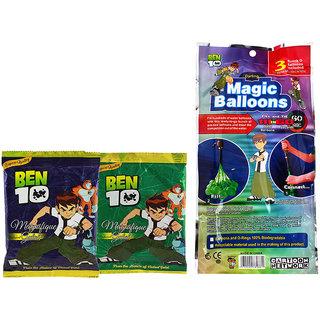Ben 10 Holi Magic Balloon Bunch 111 Pc Auto fill (3 sets of 37 balloons) With 2 Ben 10 Gulal