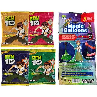 Ben 10 Holi Magic Balloon Bunch 111 Pc Auto fill (3 sets of 37 balloons)  With 4 Ben 10 Gulal