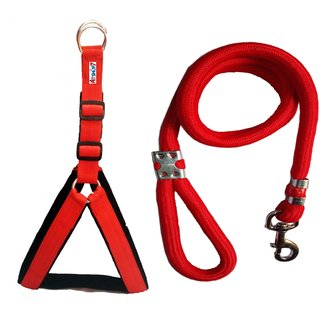 Petshop7 Nylon Padded Red adjustable Dog Harness  Leash Rope 1.25 Inch for Large Pet (Chest Size  33-42)