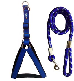 Petshop7 Nylon Padded Blue adjustable Dog Harness  Leash Rope 1.25 Inch for Large Pet (Chest Size  33-42)