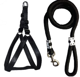 Roll over image to zoom in Petshop7 Nylon Padded Black adjustable Dog Harness  Black Leash Rope 1.25 Inch for Large Pe