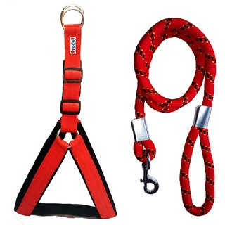 Petshop7 Nylon Padded Red adjustable Dog Harness  Dog Leash Rope 1.25 Inch for Large Pet (Chest Size  33-42)
