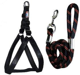 Petshop7 Nylon Padded Black adjustable Dog Harness  Dog Leash Rope 1.25 Inch for Large Pet (Chest Size  33-42)