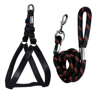 Petshop7 Nylon Padded Black adjustable Dog Harness  Dog Leash Rope 1.25 Inch for Large Pet (Chest Size  33-42)