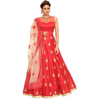 AIKA Red Art Silk Self Design Semi Stitched Gown