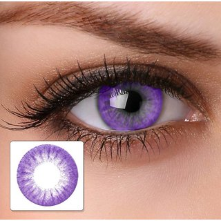 Magjons Party Purple Color Contact Lens Pair With 80 ML Solution