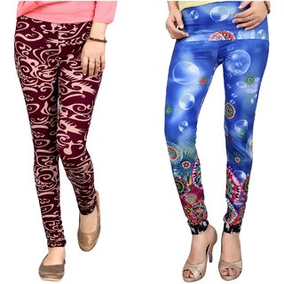 DeVry  Designer Colorful Printed Stretchy Leggings Combo Set of 2pc(DRY230)