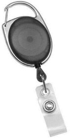 ID Badge Card Holder Oval Pulley Retractable Reel Black
