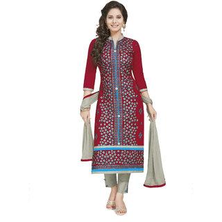 Pari Women's Unstitched Cotton Red Emboidered Churidar With Dupatta