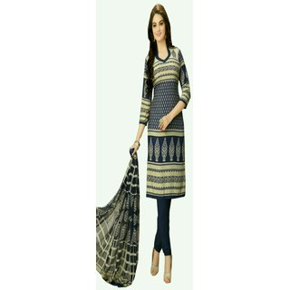 Blue Printed Faux Cotton Unstitched Dress Material  Traditional dress cultural dress style of wearing dress