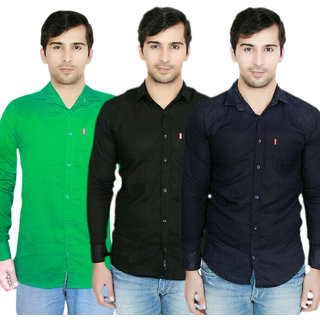 Knight Riders Pack Of 3 Plain Casual Slimfit Poly-Cotton ShirtsGreenBlackNavy